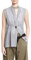 Brunello Cucinelli Sleeveless Striped Monili-Tab Shirt, Multi