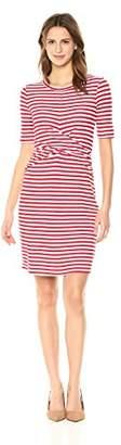 Three Dots Women's Nantucket Stripe Terry Tight mid Dress