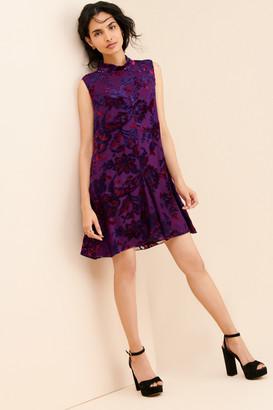 Anna Sui Jewel Tone Velvet Metallic Mini Dress