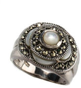 NEW DESIGNER Sterling Mother of Pearl Marcasite Flower Cocktail Ring Sz 7.25 JT