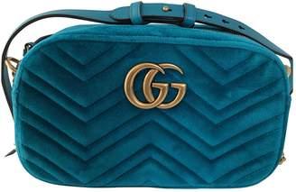Gucci Marmont Blue Velvet Handbags