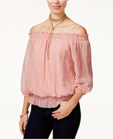 BCX Juniors' Embroidered Smocked Off-The-Shoulder Top