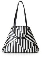 Akris Ai Medium Striped Convertible Tote Bag, Black/White