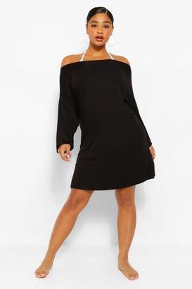 boohoo Plus Oversized Beach T-Shirt Dress