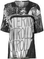 Marios graphic print T-shirt with exaggerated drape back