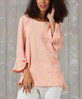 Suzanne Betro Weekend Women's Tunics 101LIGHT - Light Coral Lace-Trim Boatneck Tunic - Women & Plus