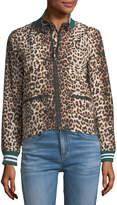 Veronica Beard Anya Leopard-Print Anorak Jacket with Striped Rib-Knit Trim