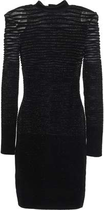 Balmain Jacquard-knit Turtleneck Mini Dress