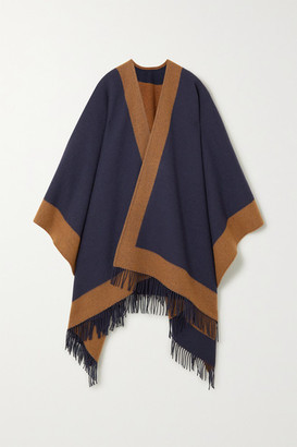Johnstons of Elgin Fringed Two-tone Wool Cape - Navy