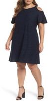 Gabby Skye Plus Size Women's Knit Cold Shoulder Trapeze Dress