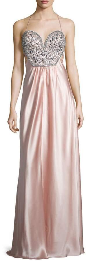 Mignon Sleeveless Embellished-Bodice Gown, Blush