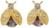 Kenneth Jay Lane Polished Gold/Crystal/Pink Opal Bee Clip Earrings