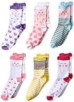 Jefferies Socks Cat Crew 6-Pack Girls Shoes