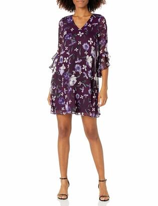 Calvin Klein Women's V-Neck Dress with Asymmetrical Bell Sleeves