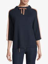 Betty Barclay Ribbed Jersey Sweat Top, Dark Blue/Rose