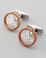 Alfred Dunhill Wooden Steering Wheel Cuff Links