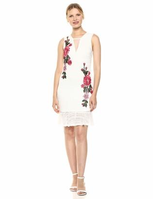 Bebe Women's Embroidered Ruffle Hem Dress