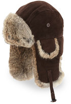 Crown Cap Suede Trapper Hat with Rabbit Fur, Brown