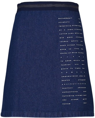 Acephala Mini Denim Skirt With Print
