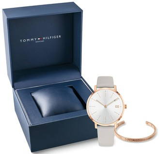 Tommy Hilfiger White Dial Leather Strap Watch & Bangle Gift Set