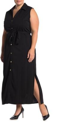 Nina Leonard Button Front Sleeveless Maxi Dress