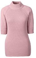 Classic Women's Elbow Sleeve Rib Mock Sweater-Ash Rose