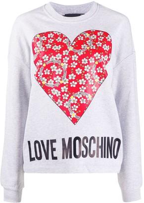 Love Moschino Logo Heart Print Sweatshirt