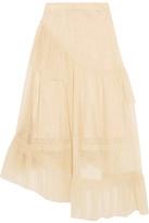 Simone Rocha Asymmetric Ruffled Tulle Midi Skirt - Neutral