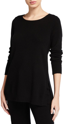 Neiman Marcus Ribbed Trim Crewneck Cashmere Sweater