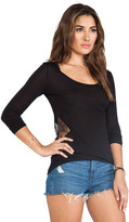 Blue Life Lace Insert Material Girl Top