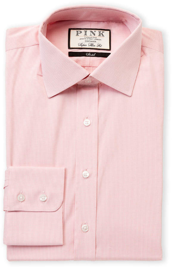 Thomas Pink Super Slim Fit Gingham Dress Shirt