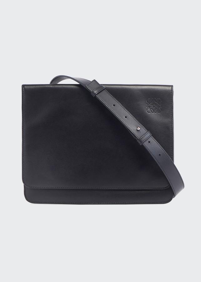WHXYAA Mens Shoulder Bag Leather Diagonal Bag Vintage Crazy Leather Mens Bag Color : Black, Size : L