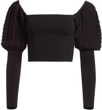 Alice + Olivia Evalee Puff Sleeve Cropped Sweater