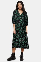 Topshop Womens Petite Green Daisy Tie Wrap Midi Dress - Green