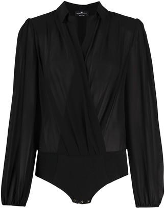 Elisabetta Franchi Long Sleeve Wrap Front Blouse