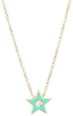 Ef Collection 14K Yellow Gold, Diamond & Enamel Star Pendant Necklace