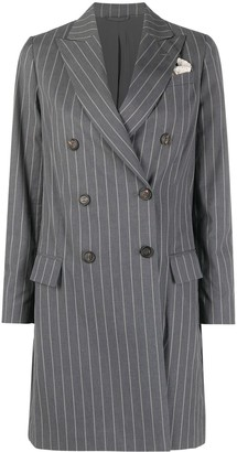 Brunello Cucinelli Pinstriped Double-Breasted Coat