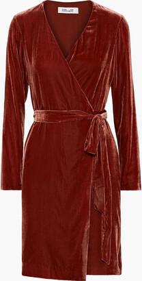 Diane von Furstenberg Julian Velvet Mini Wrap Dress