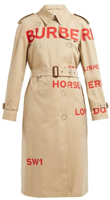 Burberry Wharbridge Cotton Gabardine Trench Coat - Womens - Beige Multi