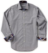 Thomas Dean Check Dobby Long-Sleeve Woven Shirt