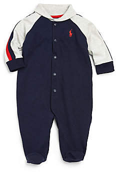 Ralph Lauren Baby Boy's Cotton Shawl-Collar Footie