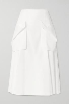 Low Classic Pleated Crepe Midi Skirt - White