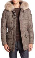 Ermenegildo Zegna Coyote Fur-Trimmed Plaid Wool Parka
