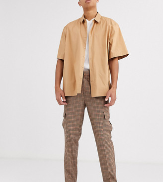Asos DESIGN Tall tapered crop smart pants with cargo pockets in brown check
