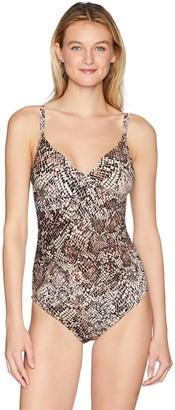 Calvin Klein Women's Printed Twist Over Shoulder one Piece Swimsuit Tummy Control