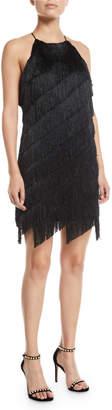 Halston Sleeveless High-Neck Fringe Slip Cocktail Dress