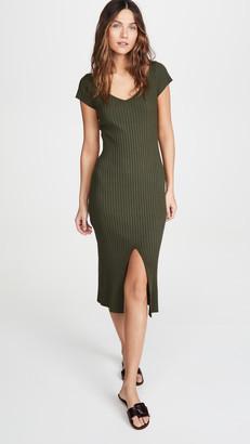 Enza Costa Rib Cap Sleeve Midi Dress
