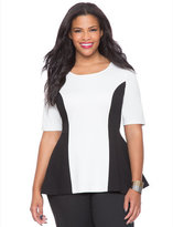 ELOQUII Plus Size Peplum Colorblock Ponte Top
