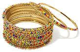 "RJ Graziano Color Culture"" 15pc Beaded Bangle Bracelet Set"