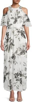 Calvin Klein Collection Floral-Print Chiffon Maxi Dress